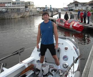 James Caple on the boat 'Pura Vida' during training row in Plymouth, Devon, UK. Sept. 2008