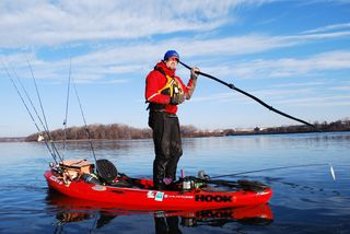 Kayak fishing instructor Jeff Little on the Susquehanna River