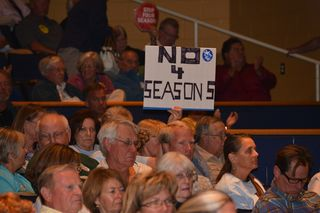 Protester in audience